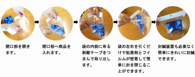 開口部を開き ます。開口部へ商品を 入れます。袋の内側に有る 剥離テープをつ まんで取り出し ます。袋の左右を引くだ けで粘着剤とフイ ルムが密着して簡 単に封を閉じるこ とができます。封緘装置も必要なく 簡単にきれいに封緘 できます。